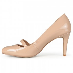 Nude Round Toe Stiletto Heels Buckle Mary Jane Pumps