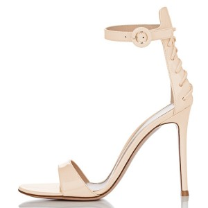 Nude Sexy Stiletto Heel Strappy Ankle Strap Sandals