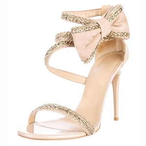 Nude Side Bow Heels Open Toe Chain Ankle Strap Stiletto Heel Sandals