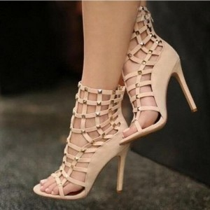 Nude Studs Stiletto Heels Hollow-out Open Toe Sandals