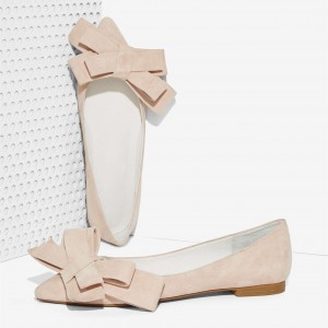 Nude Suede Bow Comfortable Flats