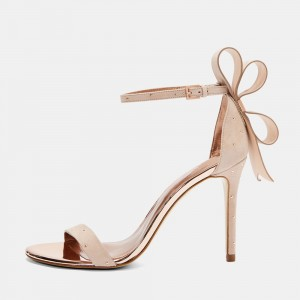 Nude Suede Bow Stiletto Heel Ankle Strap Sandals