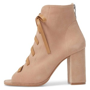 Nude Suede Lace Up Peep Toe Chunky Heel Boots