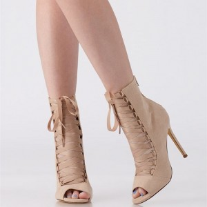 Nude Suede Lace Up Stiletto Heel Peep Toe Booties
