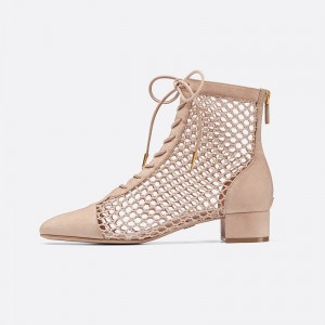 Nude Suede Nets Lace Up Boots Chunky Heel Ankle Boots