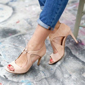 Nude Suede Peep Toe Lace Up Stiletto Heels Sandals