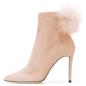Nude Suede Pom Pom Shoes Stiletto Heel Ankle Boots