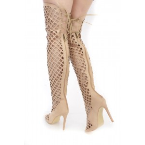 Nude Summer Boots Hollow out Caged Knee-over Boots for Women