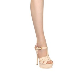 Women's Nude T-strap Platform Sandals Open Toe Stiletto Heels