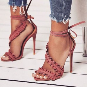 Pink Open Toe Stiletto Heels Ruffle Ankle Strap Strappy Sandals