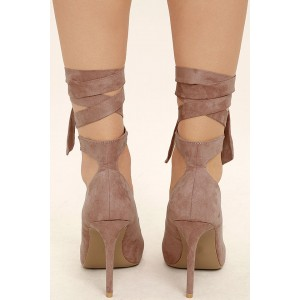 Nude Pink Strappy Heels Pointy Toe Suede Pumps Stiletto Heels