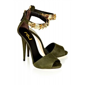 Army Green Peep Toe Heels Cones Heels Metal Ankle Strap Sandals