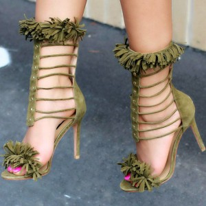 Olive Green Suede Stiletto Heel Fringe Sandals