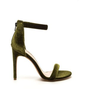 Green Ankle Strap Sandals Suede Open Toe 3 Inches Stiletto Heels