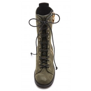 Dark Green Combat Boots Lace up Round Toe Ankle Boots by FSJ