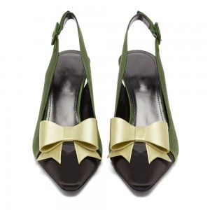 Olive Satin Pointy Toe Bow Slingback Pumps Kitten Heels Pumps