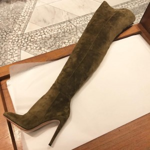 Olive Suede Boots Stiletto Heel Over the Knee Boots