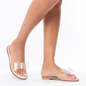 Open Toe Flats Clear Sandals Perspex Shoes US Size 3-15