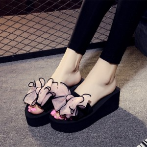 Black Platform Women's Slide Sandals Open Toe Pink Bow Slides Shoes
