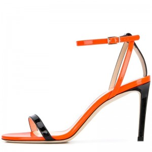 Orange and Black Patent Leather Stiletto Heels Ankle Strap Sandals