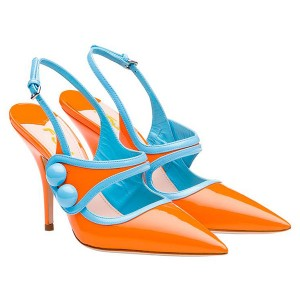 Orange Slingback Pumps Patent Leather Pointy Toe Stiletto Heels