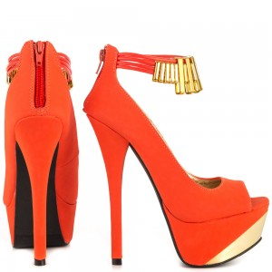 Orange Peep Toe Ankle Strap Heels Gold Metal Details Platform Pumps