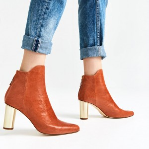 Orange Boots Fashion Block Heel Ankle Boots for Work US Size 3-15