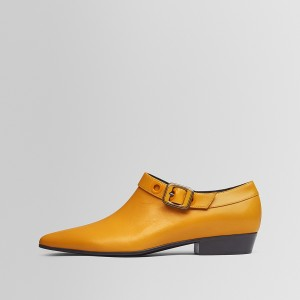 Orange Buckles Short Boots