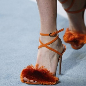 Orange Cross Over Fringe Stiletto Heel Ankle Strap Sandals