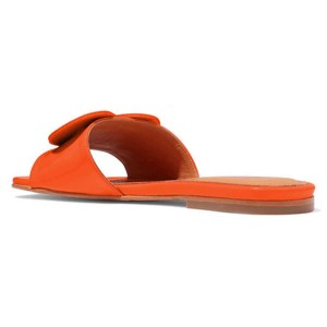 Orange Patent Leather Heart Women's Slide Sandals