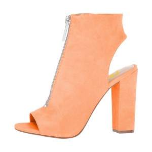 Orange Peep Toe Booties Chunky Heel Slingback Suede Ankle Boots