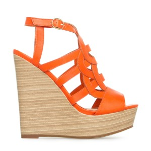 Orange Wedge Sandals Laser Cut Platform Peep Toe Heels