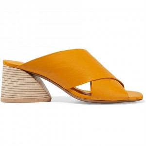 Orange Peep Toe Mule Heels Wood Block Heels Sandals