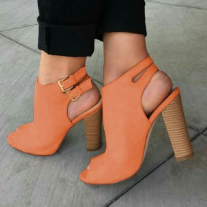 Orange Summer Boots Chunky Heels Peep Toe Slingback Ankle Booties