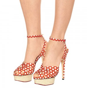 Orange Polka Dots Platform Stiletto Heel Ankle Strap Sandals