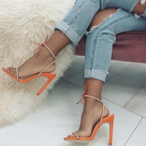 Orange Rhinestone Open Toe Slingback Heels Sandals