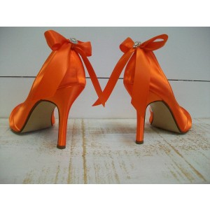 Orange Satin Peep Toe Wedding Heels Bow D'orsay Pumps for Bridesmaid