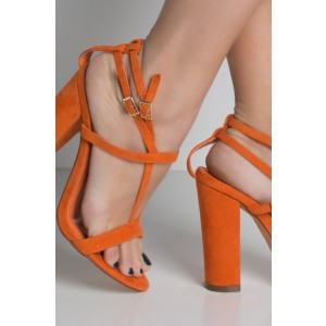 Orange Soft Suede Block Heel Sandals Open Toe Ankle Strap Sandals