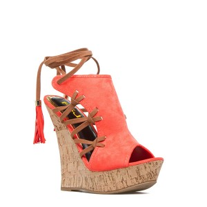 Orange Cork Wedges Ankle Wrap Strappy Peep Toe Suede Platform Sandals