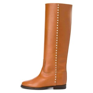 Tan Studs Flat Long Boots Knee High Boots