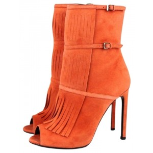 Women's Suede Orange Peep Toe Buckle Stiletto Heel Boots
