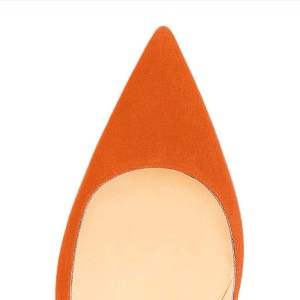 Women's Orange Stiletto Heels Office Heels Pointy Toe Suede Shoes