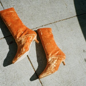 Orange Velvet Kitten Heel Boots Fashion Ankle Boots US Size 3-15