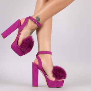 Orchid Open Toe Suede Chunky Heel Sandals with Fur