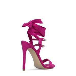 Hot Pink Slingback Sandals Stiletto Heels Rhinestone Strappy Sandals