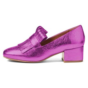 Orchid Square Toe Chunky Heels Fringe Loafers for Women US Size 3-15