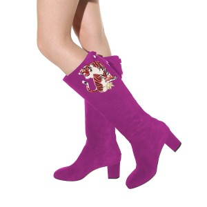 Fuchsia Tall Boots Tiger Print Suede Block Heel Fashion Boots