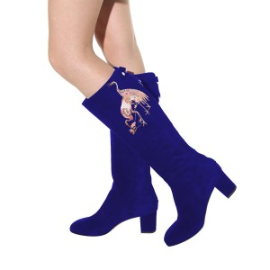 Women's Blue Suede Crane Floral Mid-Calf Chunky Heel Boots