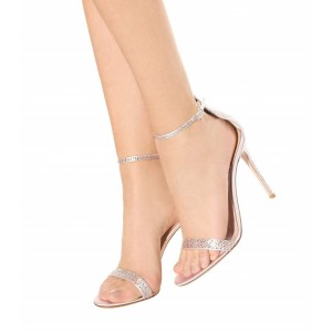 Women's Pink Open Toe Rhinestone Decorated Wedding Ankle Strappy Stiletto Heel Sandals