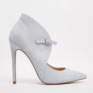 Grey Suede Shoes Pointy Toe Cut out Stiletto Heel Pumps for Women